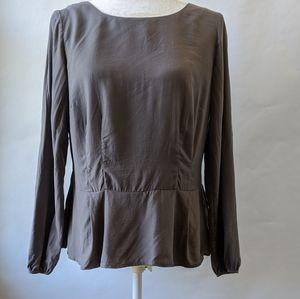 Boden peplum top / shirt / blouse grey